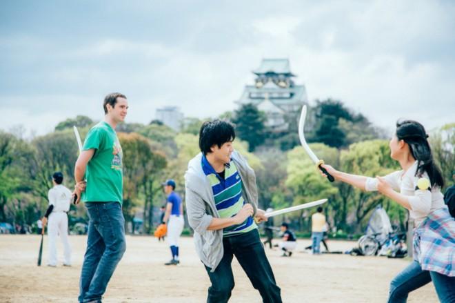 Osaka Castle and sword fight back